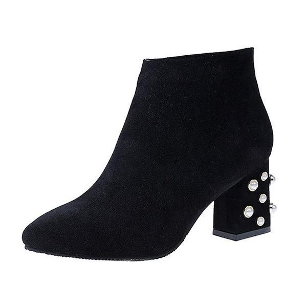 ba4ee543336 Beaded Chunky Heel Suede Pointed Toe Ankle Boots | Boots | Chelsea ...