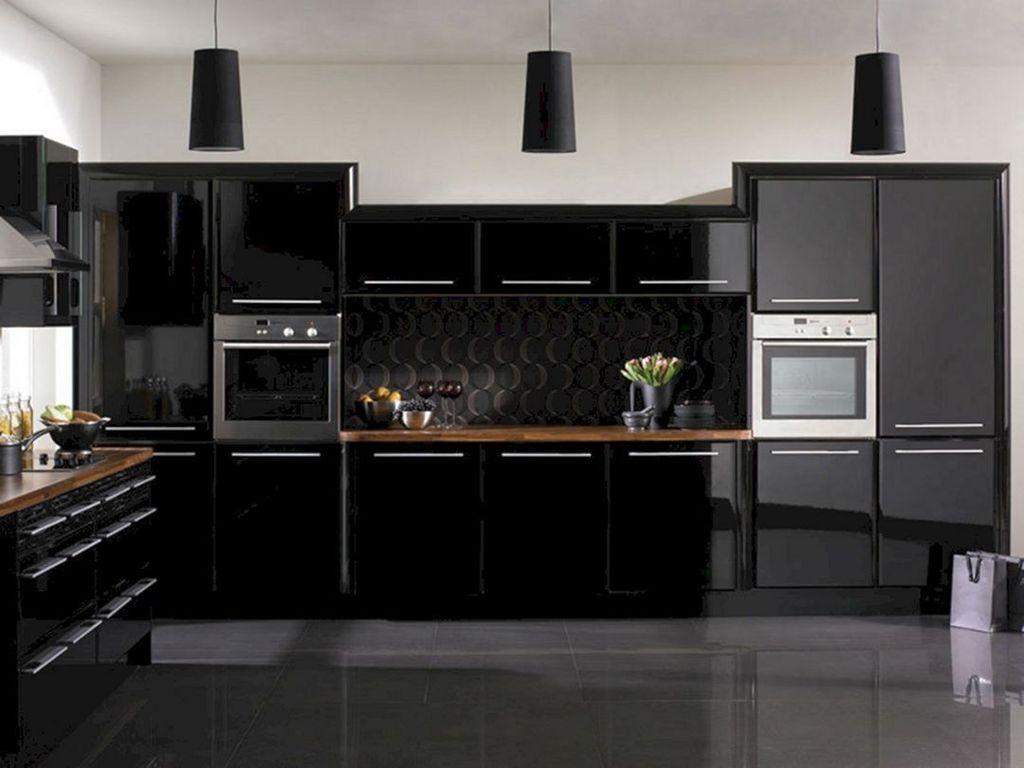32 Fabulous Black Kitchen Cabinets You Definitely Like In 2020 Modern Black Kitchen Gloss Kitchen Cabinets High Gloss Kitchen Cabinets