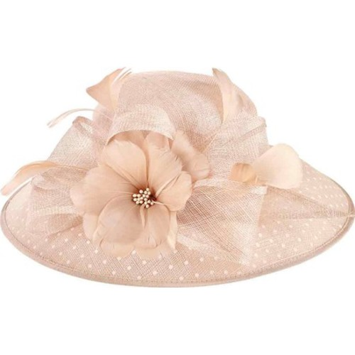 Women s San Diego Hat Company Sinamay Hat w  Dot Overlay   Feather Trim  DRS1013 Hats 42d399642069