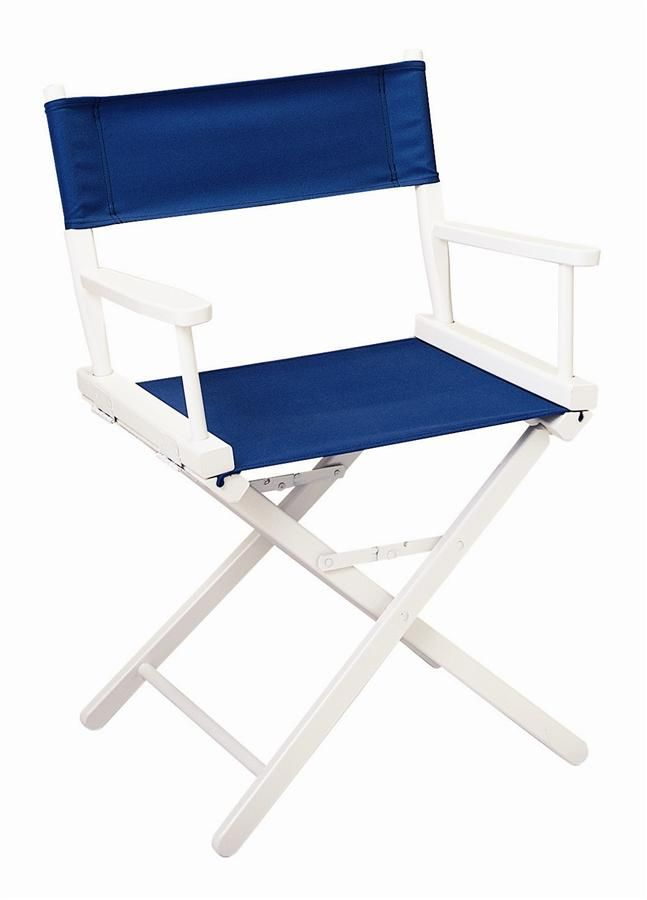 Delightful Contemporary Directoru0027s Chair In Navy Blue Canvas W White Frame