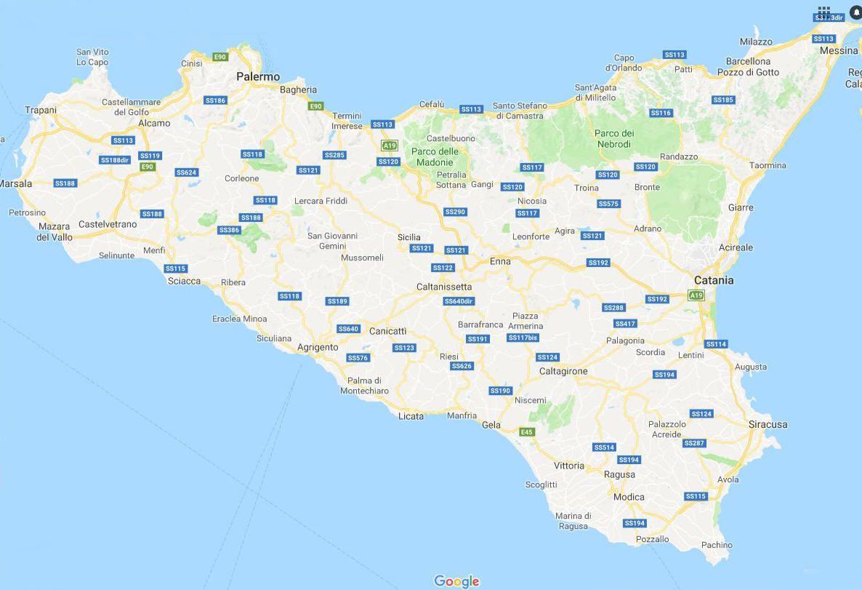 Sicilia Cartina Geografica.Cartina Geografica Politica Della Sicilia Mappa Carta