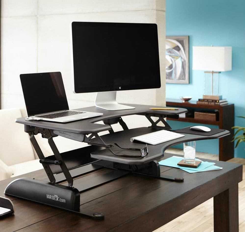 dual office desk. Standing Adjustable Height Desk Office Computer Table Ergonomic Dual Monitor
