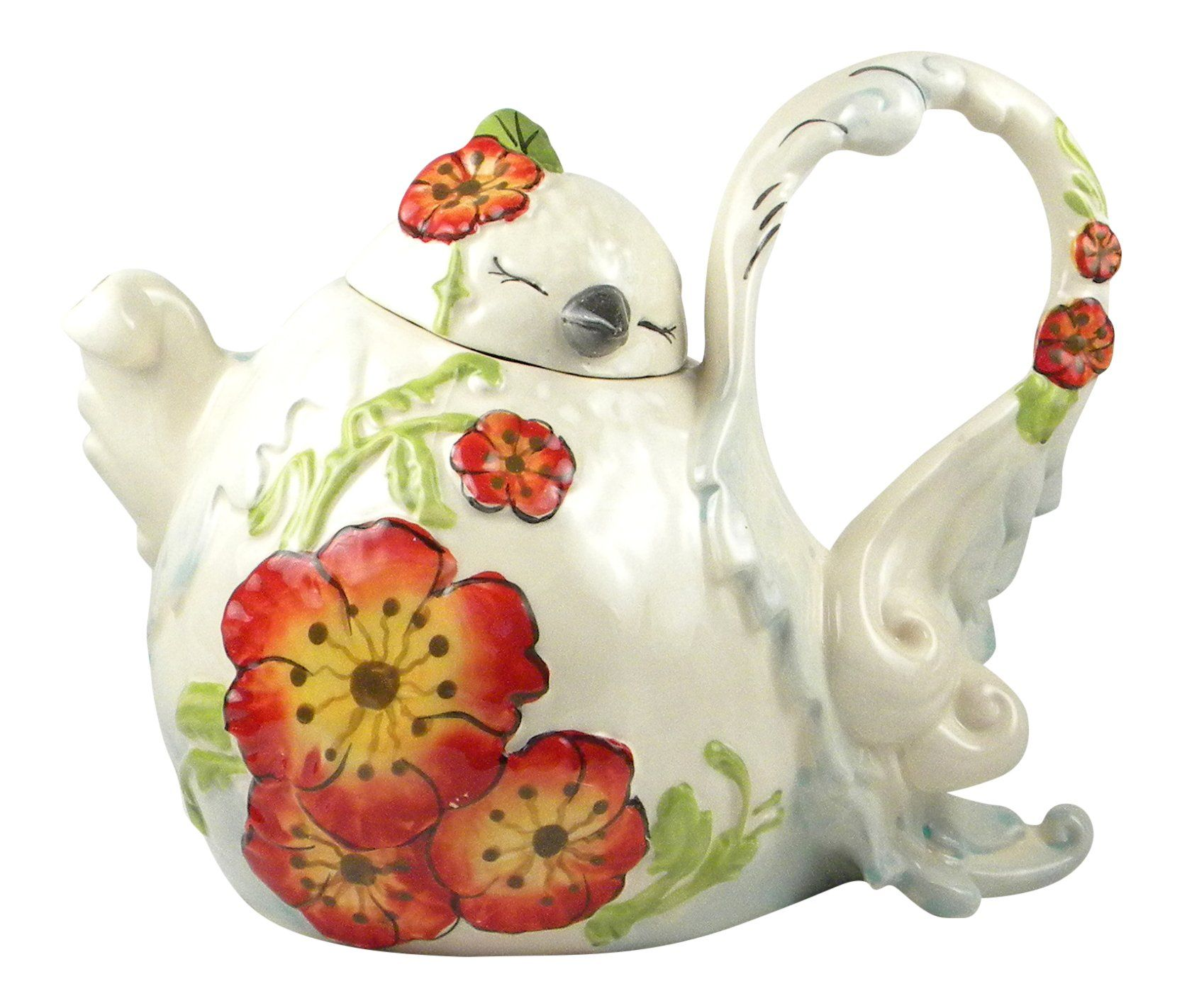 Pretty Poppy Bird Teapot This Lovely Teapot Has Sweet Country