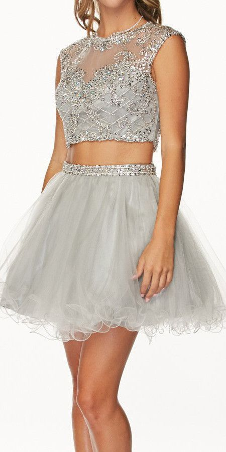 Cropped Bodice Jewel Neck Silver Short Puffy Prom Dress | Pinterest ...