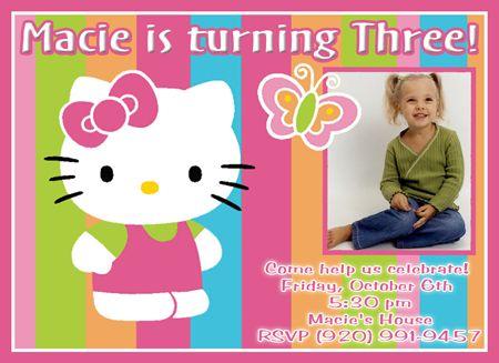 Custom Photo Birthday Party Invitations Hello Kitty 1 For my
