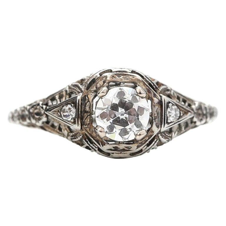 Victorian Filigree .60 Carat Diamond Engagement Ring