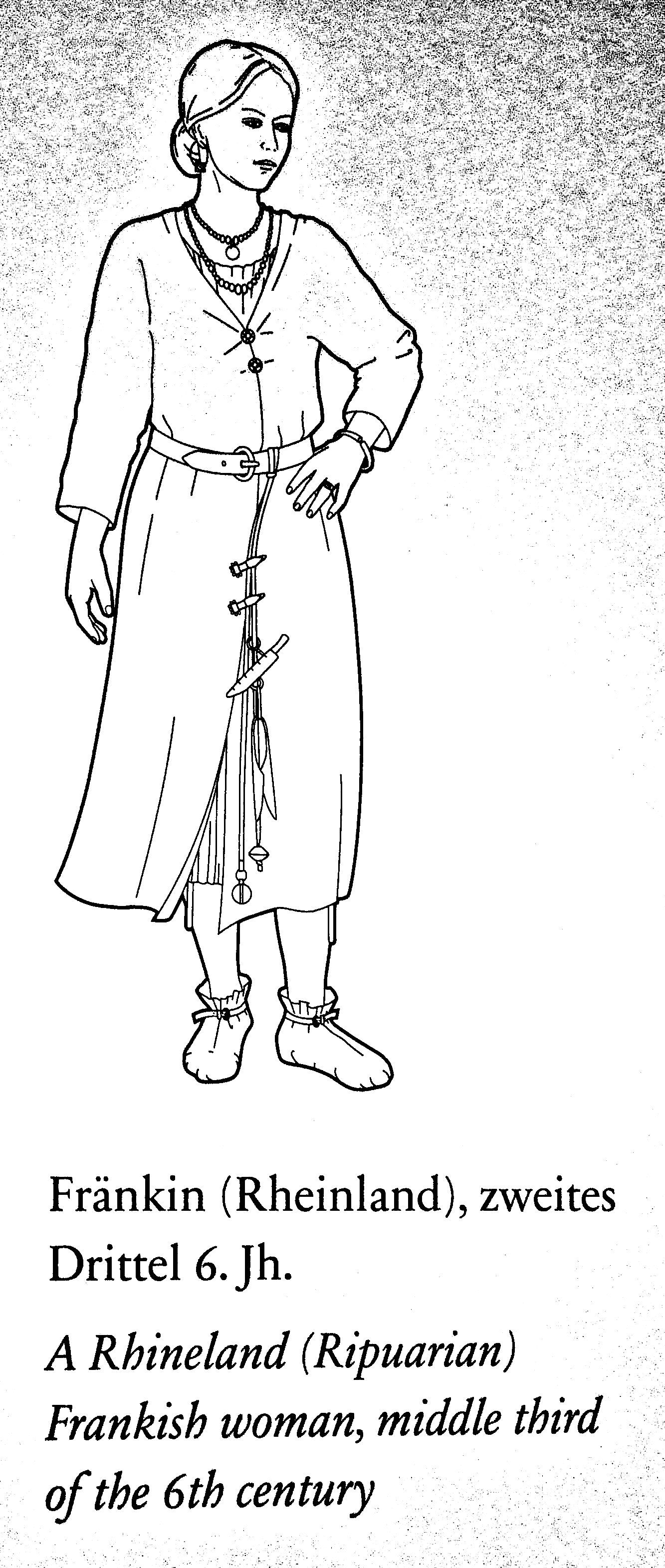 A Rhineland (Ripuarian) Frankish woman, middle third of