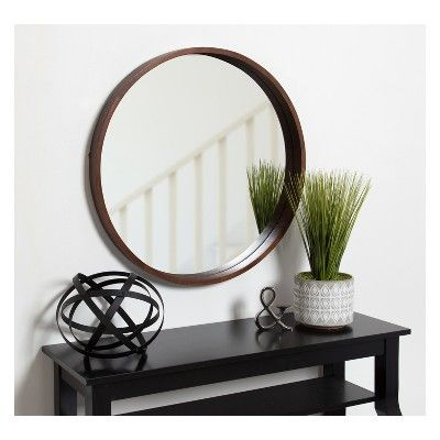 Kate Amp Laurel 29 Quot X29 Quot Decorative Wall Mirror Walnut Brown