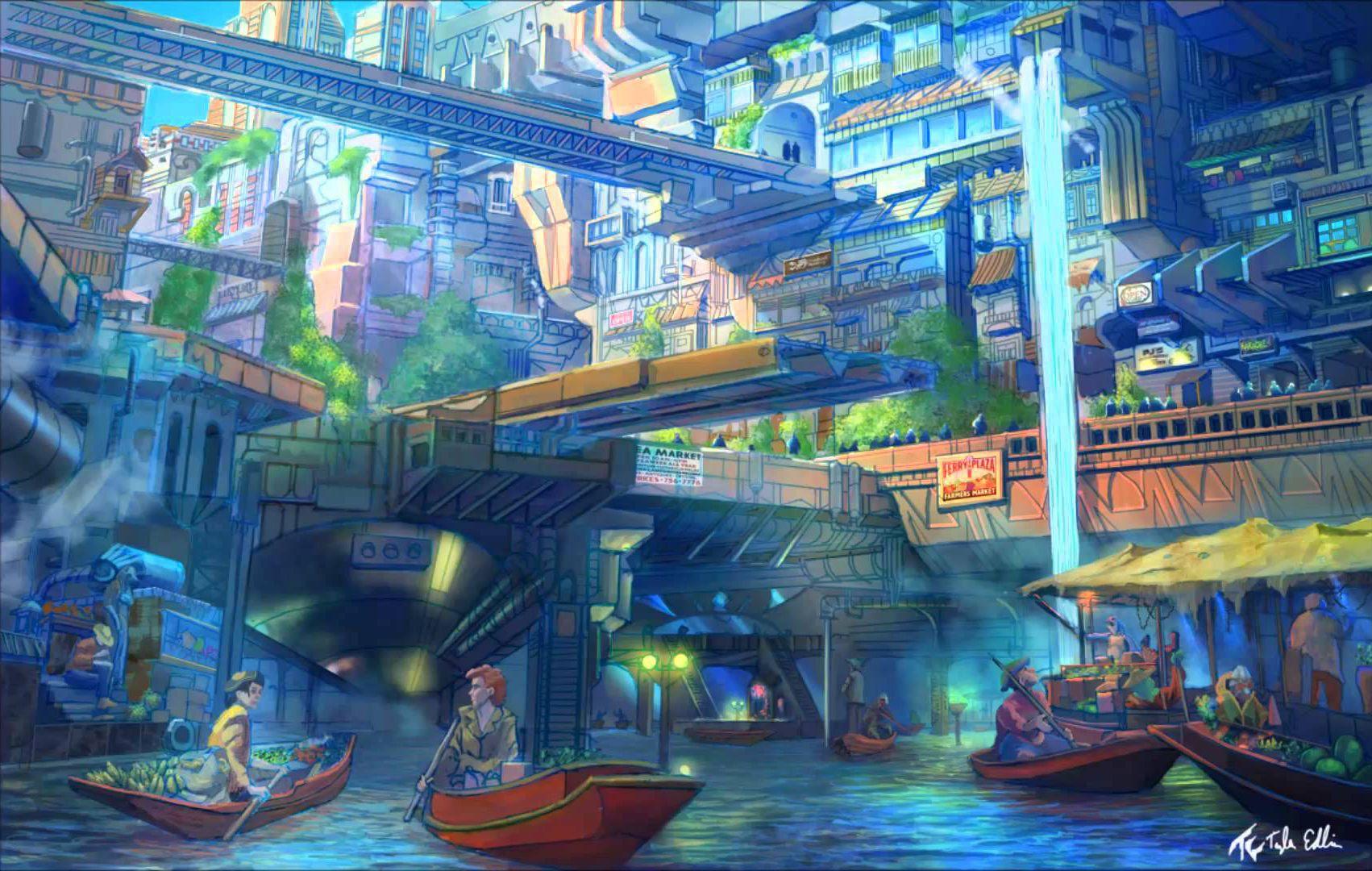The Waterway Market Anime City Concept Art Environment Concept Art