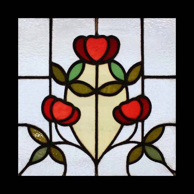 Art Nouveau Floral English Antique Stained Glass Window Beautiful ...
