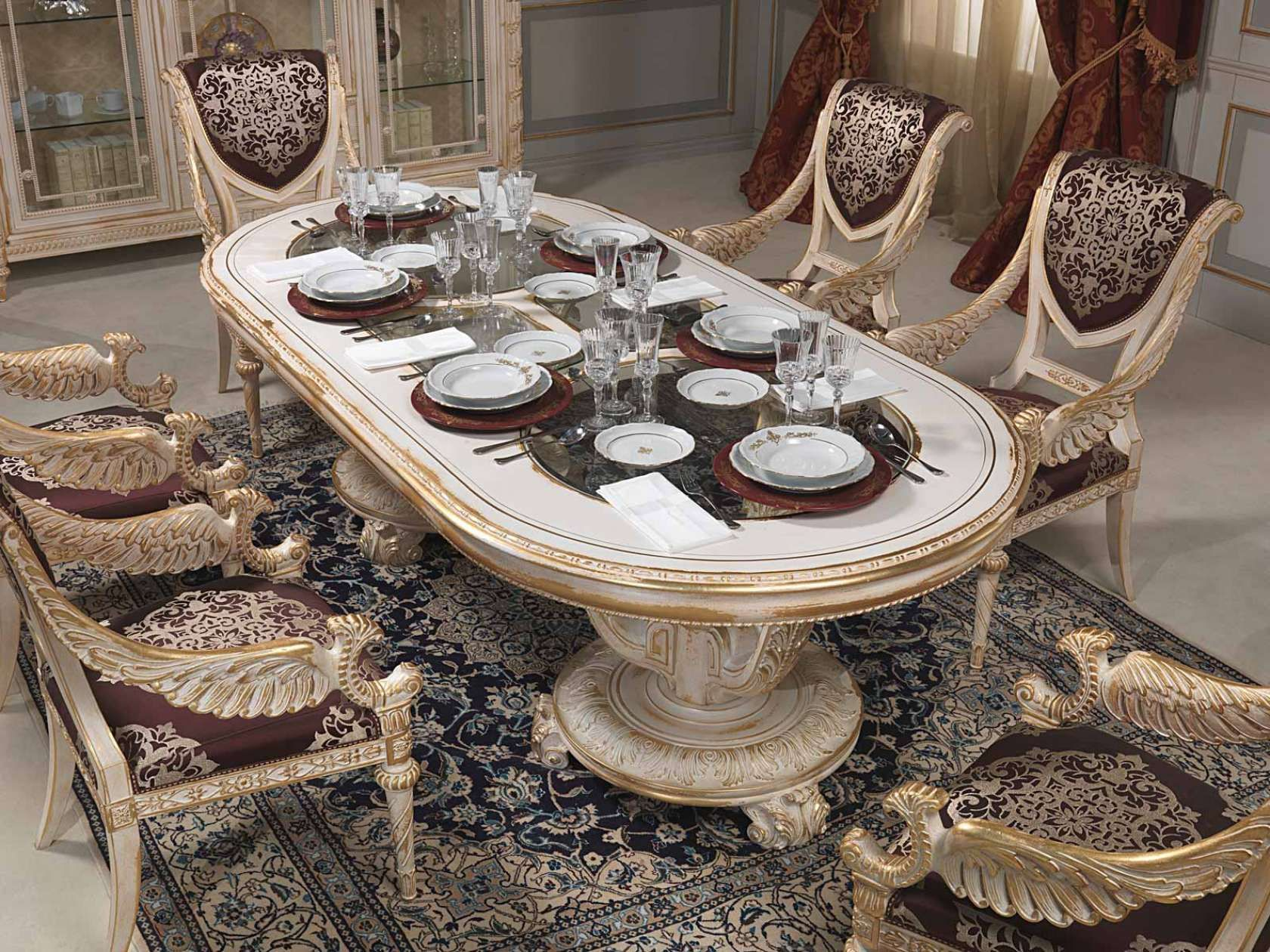 Luxury Classic Dining Room Louis Xvi White And Gold Vimercati Classic Furniture Classic Dining Room Luxury Dining Gold Dining Room Table