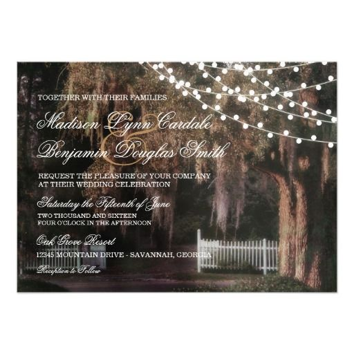 String Of Lights Rustic Oak Wedding Invitations
