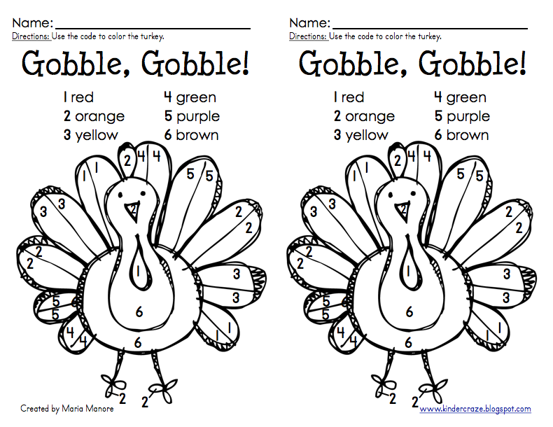 Thanksgiving Color by Number Turkey Freebie | Art and Crtaft ideas ...