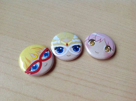 Magical Girl AllStars Button 3pack by supermeow on Etsy, $3.00