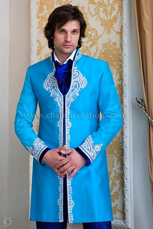 Indian Suits & Sherwani - Fusion sherwani in turquoise blue with ...