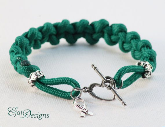 Liver Kidney Cancer Cerebral Palsy Green Ribbon Awareness 550 Paracord Charm Bracelet For My Uncle