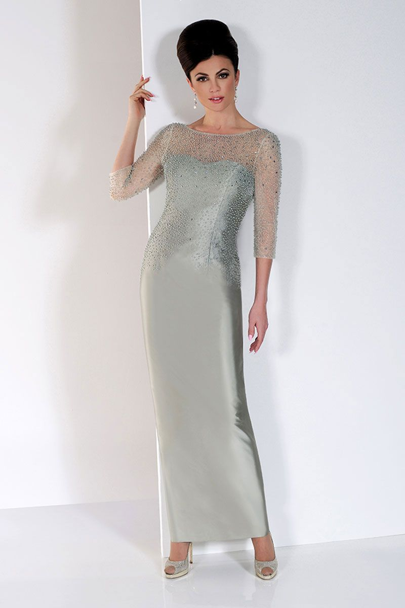 Long tailored dress with high neck and beaded bodice IR8809L size 12