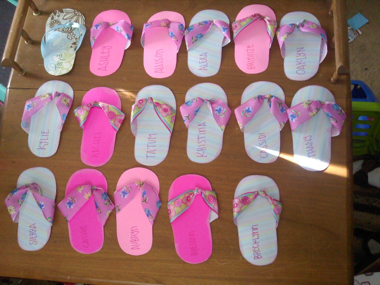 Flip flop invites Macady and I made for Activity Day mother
