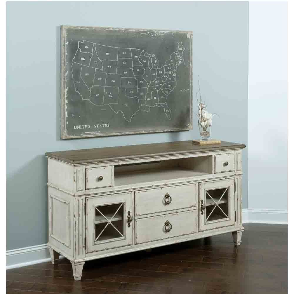 Southbury Wood Entertainment Console in Parchment by American Drew ...