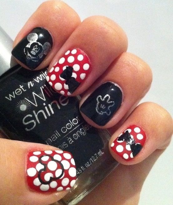Minnie Mouse Nail Art | Nails | Pinterest | Uñas lindas, Arte de ...