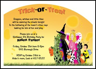 Kids Kooky Spooky Halloween Birthday Party Invitations, Number ...