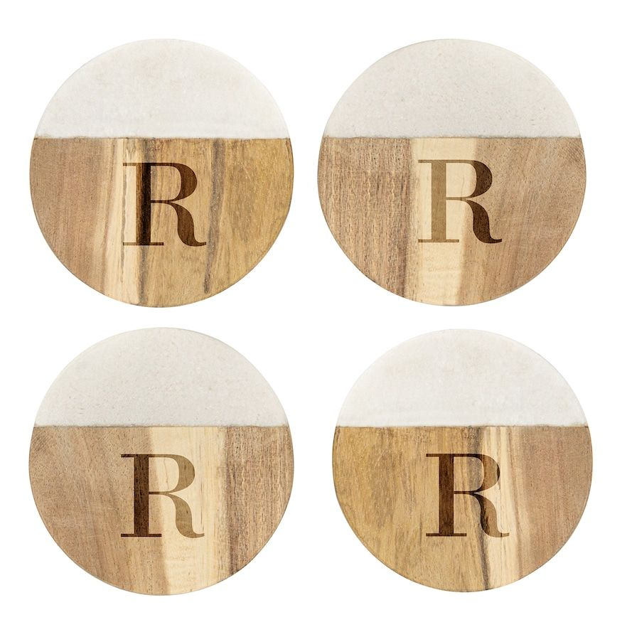 Cathy's Concepts Personalized Marble & Acacia 4-pc. Coaster Set, Multicolor