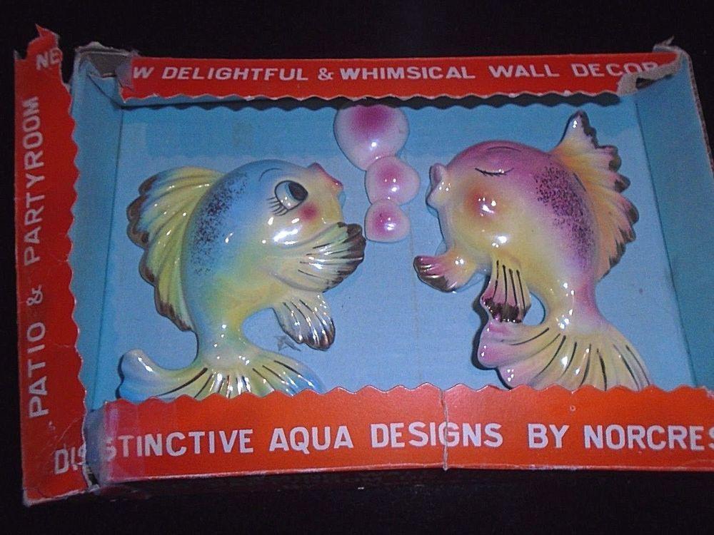 vintage /& retro bath fish decor Blue Bubble Wall Plaques for Norcrest mermaids