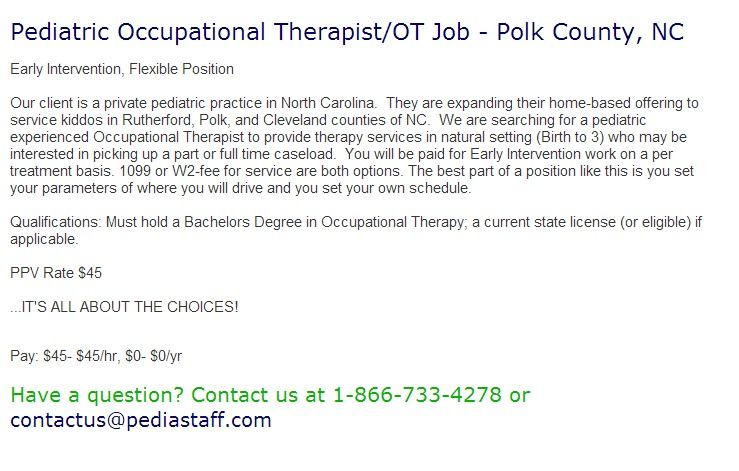 Pediatric Occupational TherapistOt Job  Polk County Nc Early