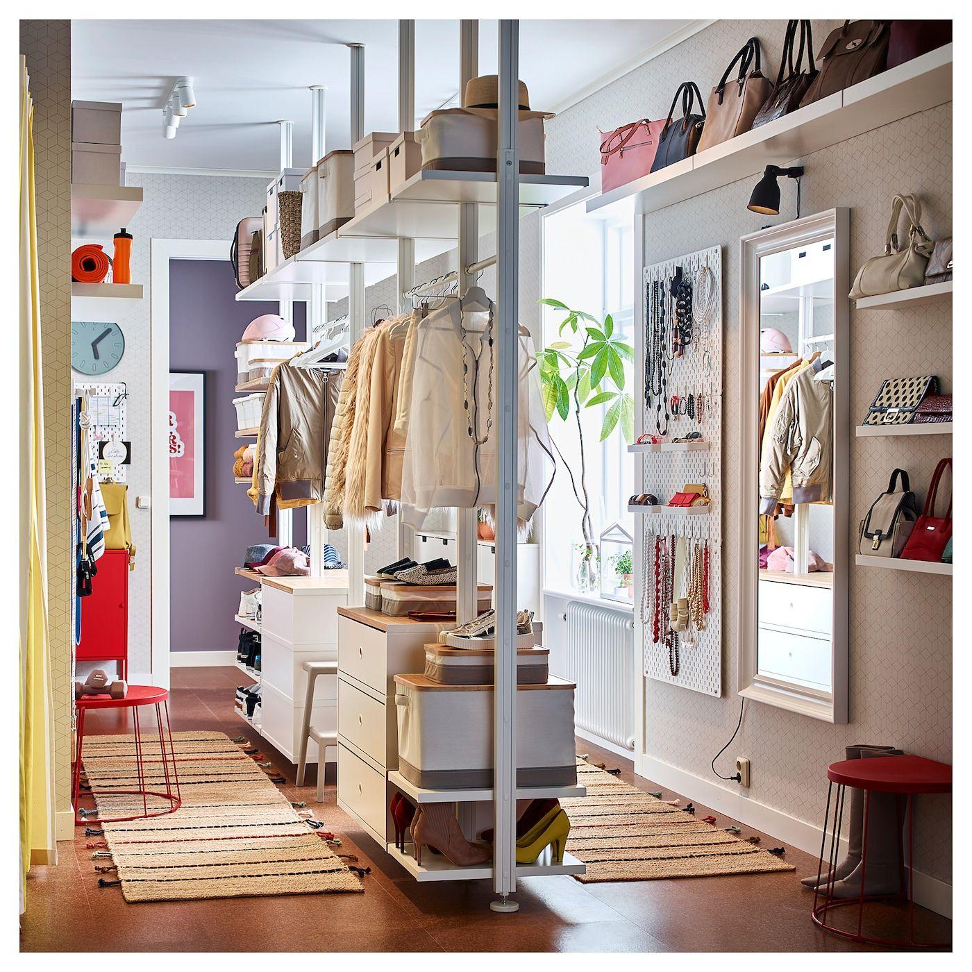 Elvarli 5 Elemente Weiss Bambus Ikea Deutschland In 2020 Elvarli Offener Kleiderschrank Ikea Schlafzimmer Ideen