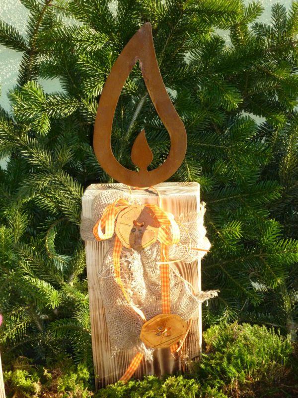 edelrost flamme 28 cm gartendeko, licht, metall, gartendekoration, Design ideen