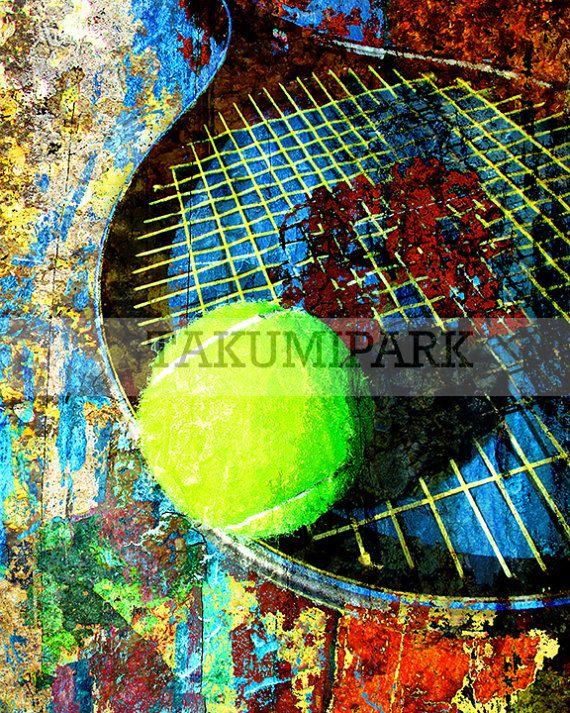 Tennis Ball And Racket Art Print Sports Wall Art Tennis Art Etsy Tennis Art Sports Wall Art Art Prints
