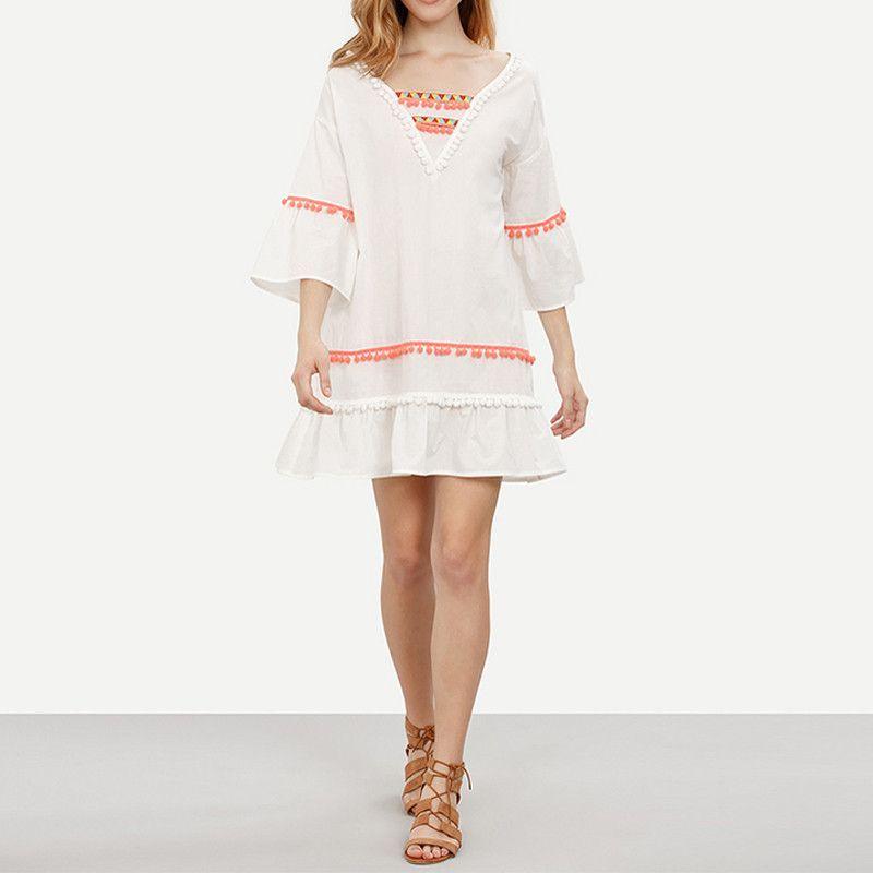 HDY Haoduoyi Autumn Fashion Women Solid White Pom Poms V-Neck A-line Dress Three Quarter Sleeve Casual Loose Mini Dress