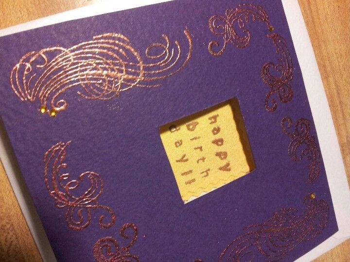 Purple with gold rim. $5/per card