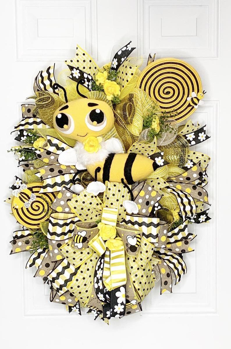 Photo of Bee Swag, Bee Wreath, Summer Wreath, Spring Bee Wreath, Bumble Bee Swag, Bee Decorations, Bee Decor, Bumble Bee Decor