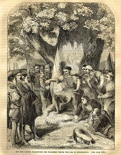 Cassell's English History - KET THE TANNER HARANGUING HIS FOLLOWERS - Engraving - 1857