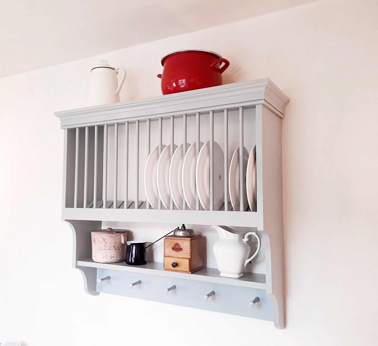 A handmade wall mounted kitchen plate rack with internal shelf and ...