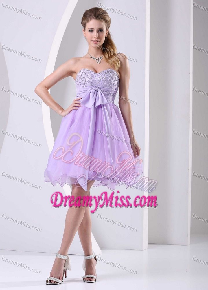 Cheap Lilac Sweetheart Beaded Chiffon Prom Gown Dress Knee-length ...