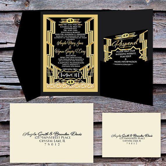 Great Gatsby Wedding Invitation And Rsvp Set By Scriptedeverafter 5 00 Gatsby Wedding Invitations Great Gatsby Wedding Wedding Invitation Inspiration