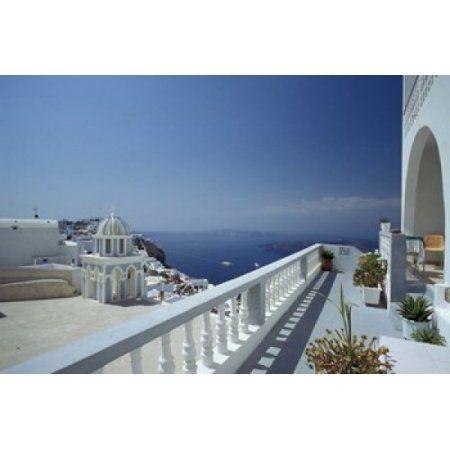 Thira and the Caldera Santorini Cyclades Islands Greece Canvas Art - Michele Molinari DanitaDelimont (18 x 12)