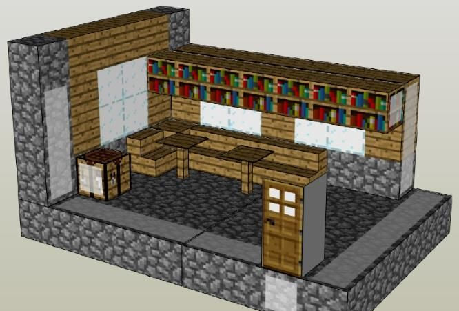 Papermau: minecraft village library paper model with interior by