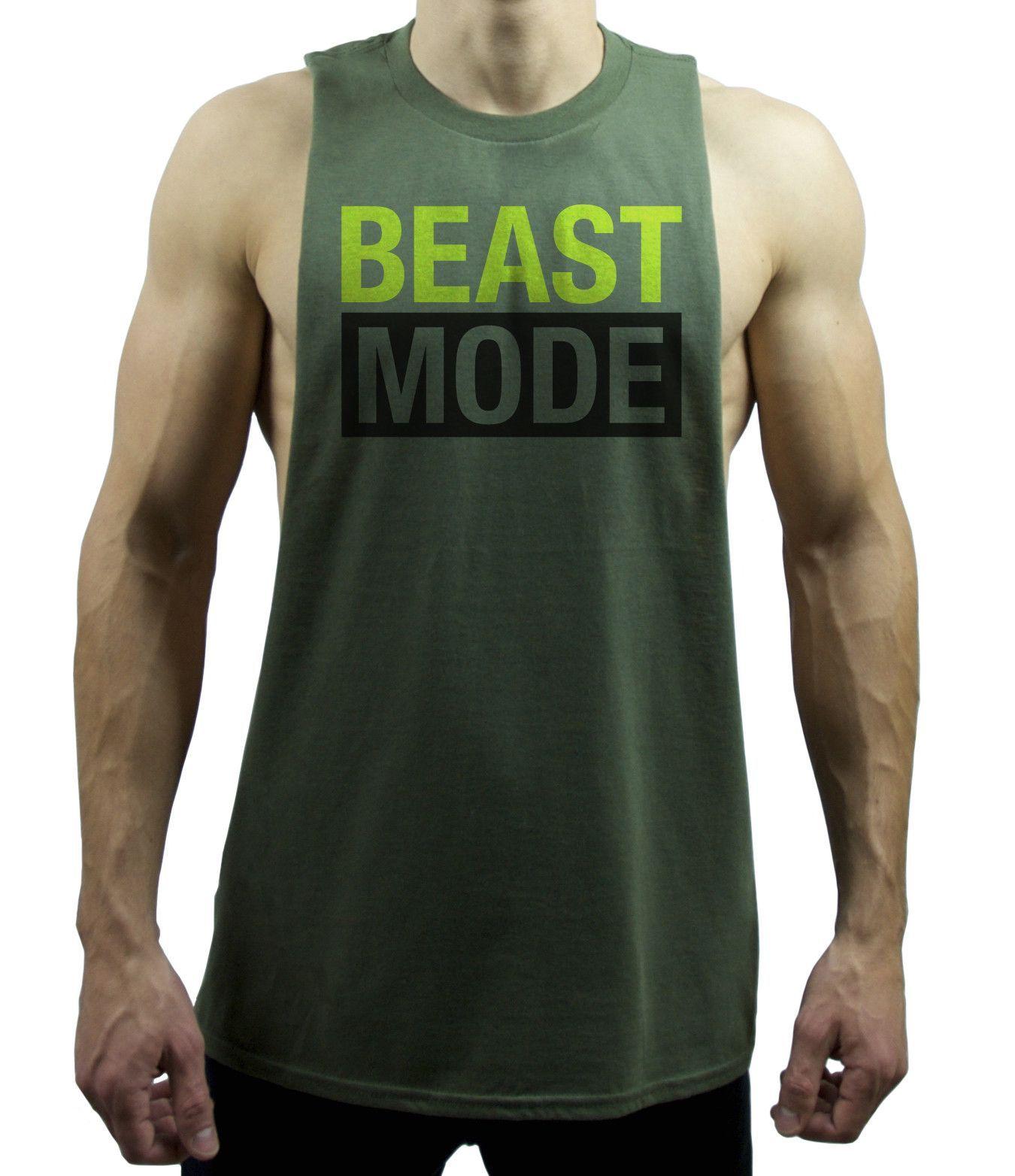 fd1a25ece9ff5 Men s Beast Mode Deep Cut Out Muscle Tank Top Shirt