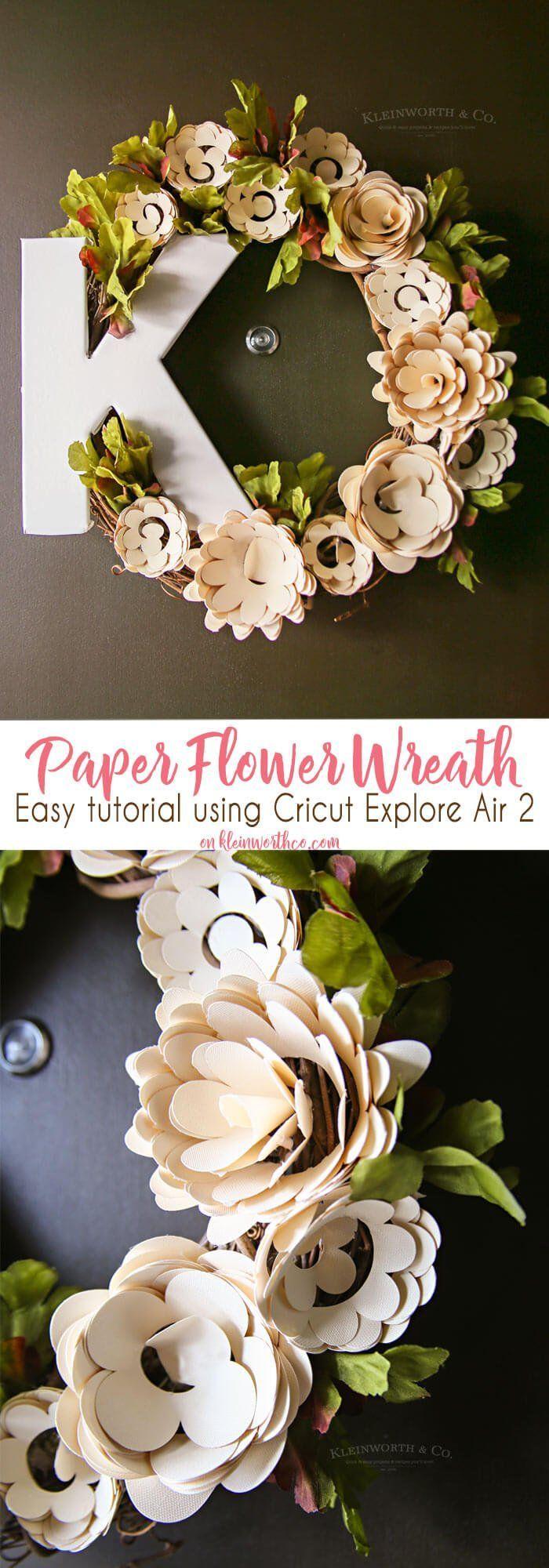 Paper Flower Wreath Cricut Tutorial#cricut #flower #paper #tutorial #wreath