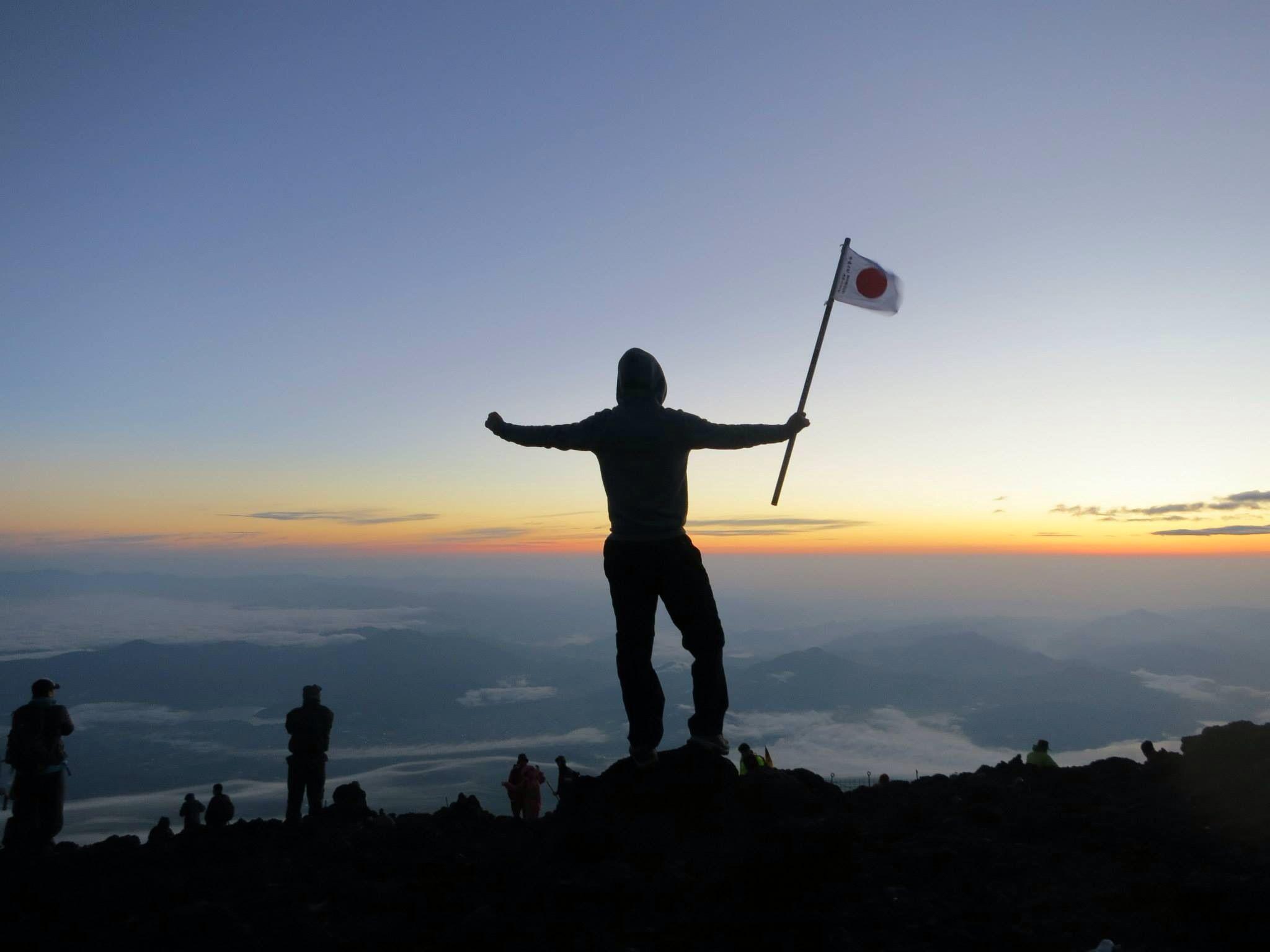 at the top of Mount Fuji, Japan