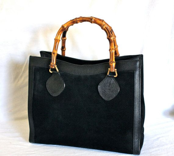 458a653c936 GUCCI Vintage Handbag Bamboo Black Suede Leather by StatedStyle ...