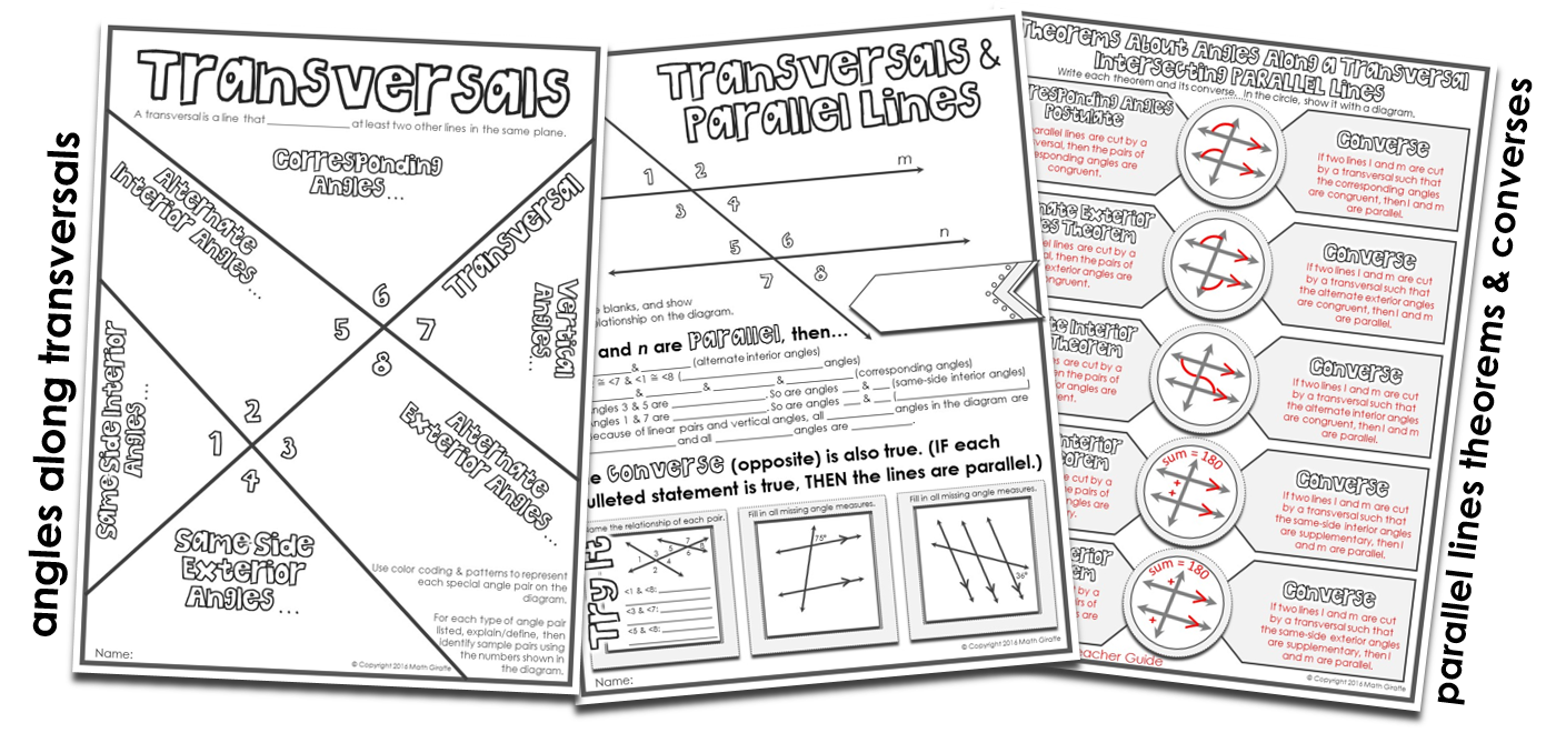 Visual Notes Transversals & Parallel Line Theorems