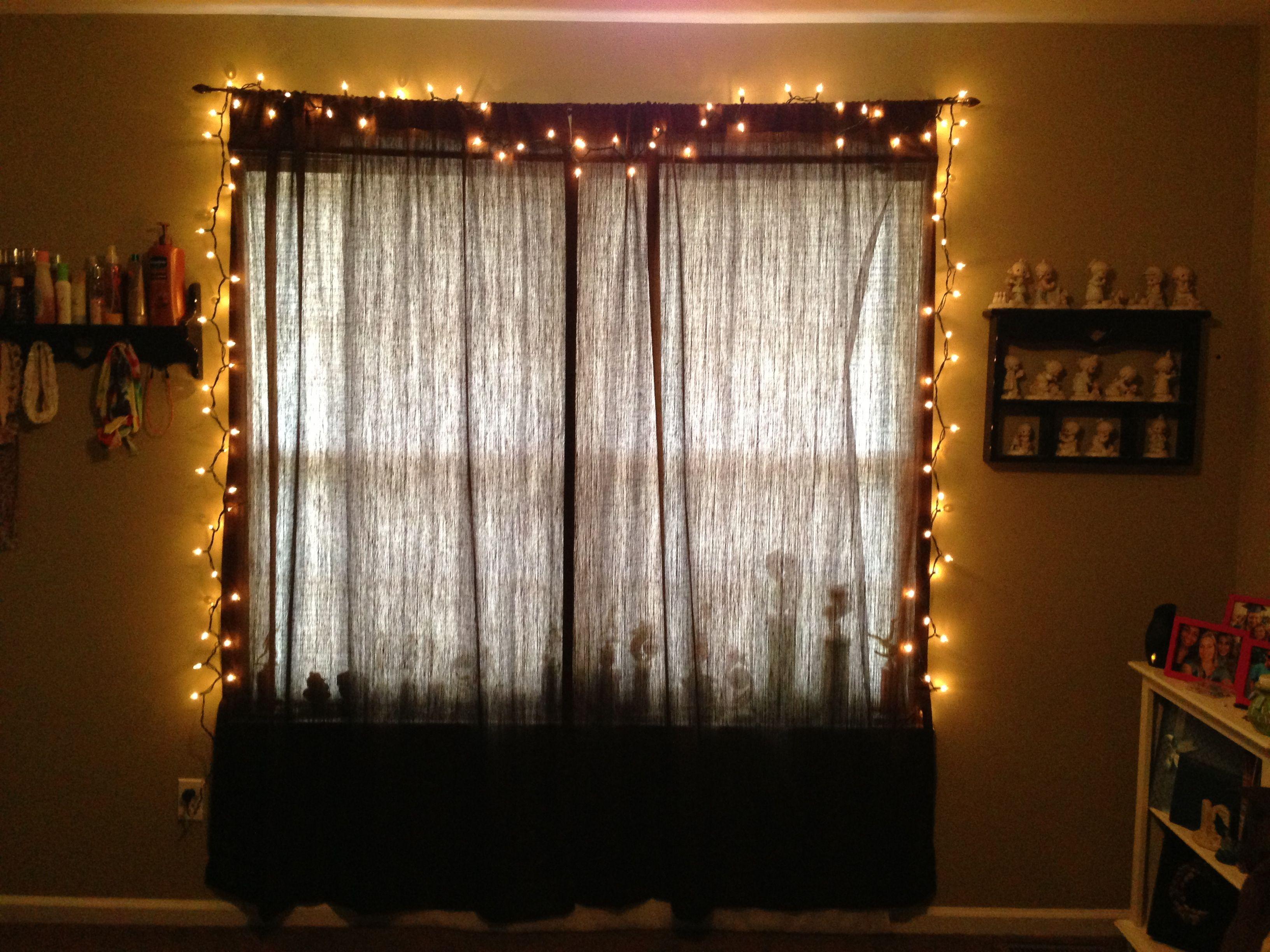 string lights in bedroom over window deocrating. Black Bedroom Furniture Sets. Home Design Ideas