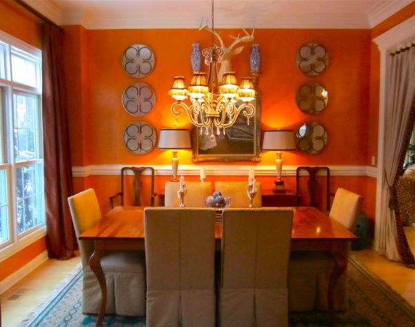hermes orange dining room love this color with blue accents with rh pinterest com