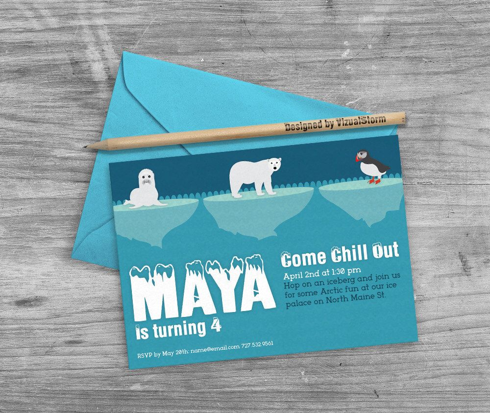 Arctic Birthday Invitation printable arctic animals 5x7