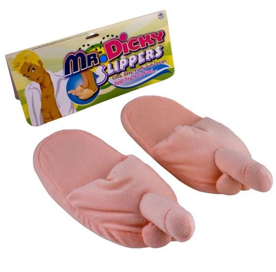 Funny Presents For Her Part - 39: Fluffy+Penis+Slippers+-+Ladies+Size+-+Fluffy+Penis+