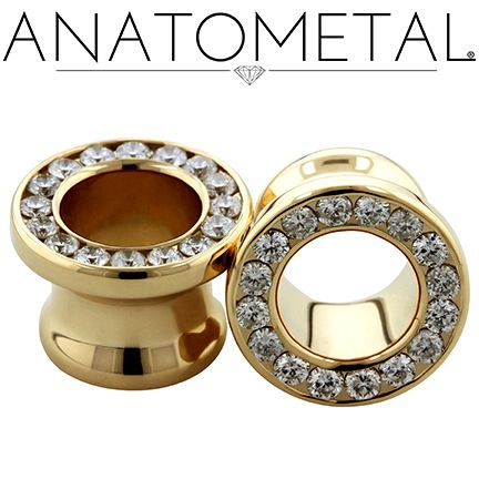 00ga Gemmed Eyelets in solid 18k yellow gold with genuine Diamonds